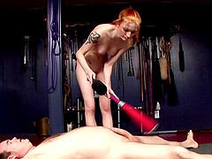 A brunette funishing an errect cock with her best fetish tricks