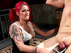 Vivacious redhead with a curvy body torturing a stranger