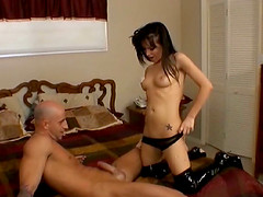 Naughty brunette with an awesome body getting her shaved pussy licked