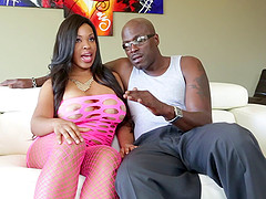 Lex Steele plays with Aryana Adin's big tits during an interview