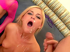 Alluring pornstars giving superb blowjob and handjob before receiving facial cumshot in a group sex
