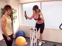 At the end of her workout this Japanese girl gets a hot load in the mouth
