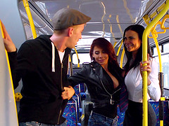 Dull bus ride turns into an incredible threesome with a happy ending