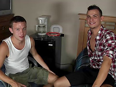 Hot gay college guys hook up and fuck in an office chair