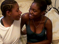 Ebony girlfriends explore their pussies with tongues in 69 position