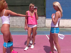Four blonde cuties pleasuring their twat on a tennis court