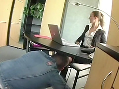Hot like fire brunette in glasses gets her asshole throbbed in a cute office sex