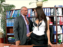 What an incredible office sex action along a cute dame in stockings and glasses
