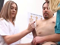Nurses help him produce a sperm sample with a CFNM handjob
