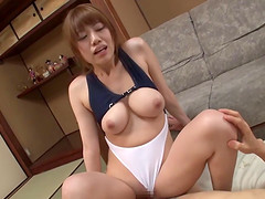 Arousing Japanese babe gets her shaved muff drilled and creampied in POV