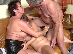 Experienced grannies' fantasies come true with a threesome
