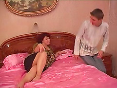 Alluring Russian older woman getting fucked by a skinny college guy