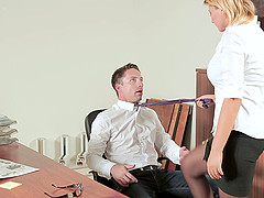 His new secretary puts out on her first day on the job