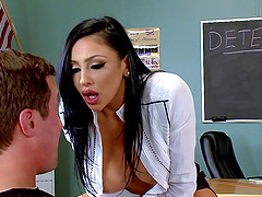 Fantastic big fake tits on this slut fucking in a classroom