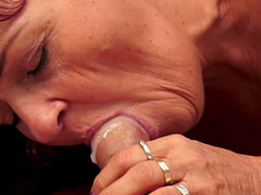 Seductive granny gets him hard and rides his fat dick