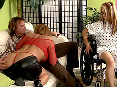 Wife in a wheelchair watches her husband fuck another girl