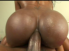 Big black cock works its way into her lubed up asshole