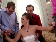 Bride gets a lovely gang bang action on her wedding day