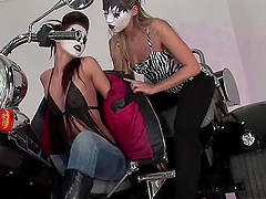 Two masked lesbian sluts enjoy pleasuring their tight muffs