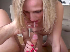 Petite blonde chick rides the chubby guy's cock with passion