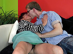 Fit old lady kissing the cute guy before they fuck