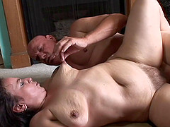 Saggy old slut with a big clit gets a good pounding