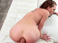 Tattooed cutie having her anus drilled in the roughest way