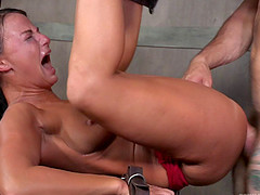 Sexy raven-haired looker enjoys having her tight snatch pounded