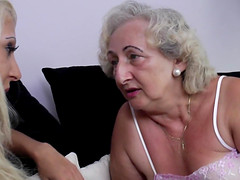 Horny mature granny lesbian drinking with her babe