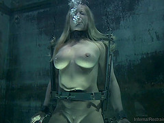 Big tits blonde giving huge dick blowjob after BDSM torture