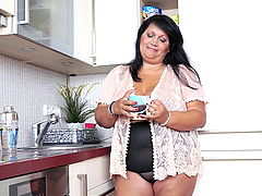 Plump black-haired housewife can't wait to take that dick into herself