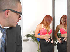 Perfect redhead Dani Jensen rides the dick of her muscular buddy