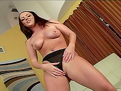 Brunette cougar in panties screams when ravished hardcore