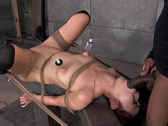Bondage slave getting fingered extremely in BDSM porn