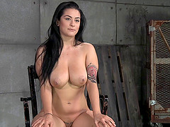 Big tits caged slave penetrated hardcore in BDSM porn shoot