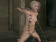 Slave pegged then face fucked roughly in BDSM porn shoot