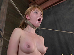 Pale cutie gets choked by a rope and her nipples abused