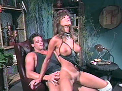 Retro beauty called Leanna impales herself on the rock-solid penis