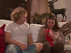 Curly-haired guy stroking the clit of ravishing Allie Haze