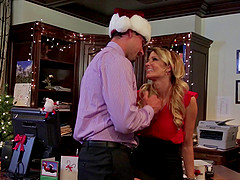 Celebrating Christmas in the office with a slutty blonde cougar