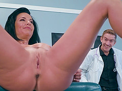 Brunette MILF attacked by a randy doctor with a huge dong