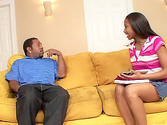 Black man with a big cock wants to penetrate a cute ebony chick