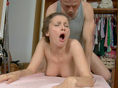 Sexy Ashley C oiled pussy fingered then smashed after massage