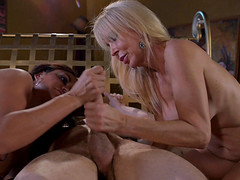 Nasty cock-suckers Claudia Valentine and Erica Lauren in a threeway