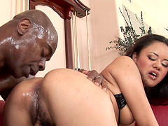 Nice ass Asian Annie anal throbbed in interracial porn