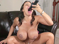Ava Devine chokes on a massive dildo before plowing her tight anus