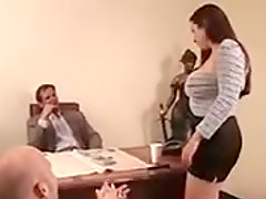 Very nice sexy busty female fucked hard in the office