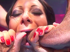 Slut Sandra Romain has her face jizzed by Alex Sanders and Marco
