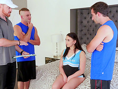 Lascivious Mandy Muse gets undressed and fucked by several men