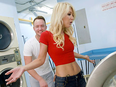 Laura Bentley is a skinny blonde who cannot resist a big boner